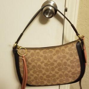 Coach purse Dark navy blue and brown